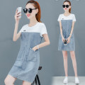 Dress Summer 2020 White, black S. M, l, XL, 2XL, quantity finite element 48 Mid length dress Fake two pieces Short sleeve commute Crew neck High waist letter Socket A-line skirt routine Others 25-29 years old Type A Korean version More than 95% other other
