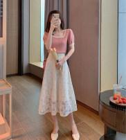 skirt Summer 2021 XS,S,M,L,XL Pink top, off white skirt, pink top + off white skirt Mid length dress Sweet High waist A-line skirt Decor Type A Lace Gouhua, hollowed out, zipper, lace