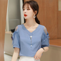 shirt Yellow, blue, white 3XL,2XL,XL,L,M,S Summer 2020 nylon 96% and above Short sleeve commute Regular V-neck Socket routine Solid color 25-29 years old Straight cylinder Korean version Synthetic fiber