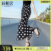 skirt Summer 2021 S M L XL Black bottom wave point longuette commute High waist other Dot Type O 25-29 years old S02B2936B More than 95% Cypress house polyester fiber printing Simplicity Polyester 100%