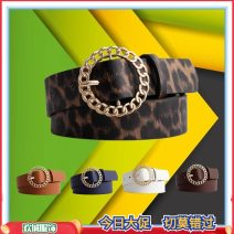 Belt / belt / chain Pu (artificial leather) Black, white, coffee, camel, Navy, pink, leopard female belt leisure time Single loop Round buckle alloy alone 105cm