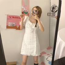 Dress Summer 2020 white XS,S,M,L,XL,2XL Short skirt singleton  Short sleeve commute square neck High waist Solid color A-line skirt puff sleeve Others 18-24 years old Type A Korean version cotton