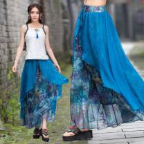 Casual pants Picture color Average size Spring 2021 trousers Wide leg pants Natural waist commute Thin money 25-29 years old 81% (inclusive) - 90% (inclusive) Other / other printing and dyeing Asymmetry