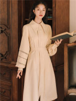 Dress Autumn of 2019 Apricot L,M,S longuette singleton  Long sleeves commute Doll Collar Loose waist Solid color Single breasted A-line skirt puff sleeve 18-24 years old Retro Gouhua hollow