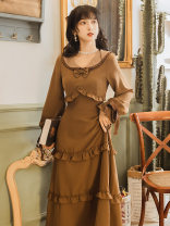 Dress Winter 2020 coffee S,M,L,XL longuette singleton  Long sleeves commute Doll Collar High waist Solid color zipper A-line skirt pagoda sleeve Type A Retro Ruffles, bows, lace Chiffon