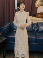 Dress / evening wear Wedding, adulthood, party, company annual meeting, performance, routine, appointment S,M,L Apricot Intellectuality longuette middle-waisted Autumn 2020 zipper Chemical fiber Chiffon 18-25 years old Long sleeves Embroidery machine embroidery