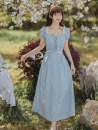 Dress Summer 2021 blue S,M,L longuette Short sleeve square neck High waist zipper A-line skirt puff sleeve Type A Stitching, lace