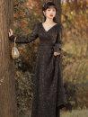 Dress Spring 2021 black S,M,L longuette singleton  Long sleeves commute V-neck High waist Solid color zipper A-line skirt routine Type A Retro
