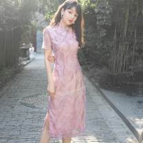 cheongsam Summer of 2019 L,M,S Pink Purple Short sleeve long cheongsam grace Low slit daily Oblique lapel Solid color 18-25 years old