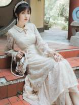 Dress Autumn of 2019 Apricot S,M,L longuette singleton  Long sleeves commute Doll Collar High waist Solid color zipper A-line skirt pagoda sleeve Others Type A Retro Gouhua, hollow out, stitching, buttons 31% (inclusive) - 50% (inclusive) Lace other