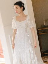 Dress Summer 2021 White, black S,M,L longuette singleton  Short sleeve square neck High waist zipper A-line skirt puff sleeve Type A Lace