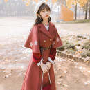 woolen coat Autumn 2020 S,M,L Brick red coat with belt and skirt polyester 31% (inclusive) - 50% (inclusive) have more cash than can be accounted for elbow sleeve commute double-breasted routine tailored collar Solid color Cape type Retro Print, button