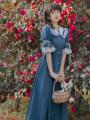 Dress Summer 2021 blue S,M,L longuette singleton  Short sleeve Doll Collar High waist zipper A-line skirt pagoda sleeve Type A Stitching, buttons, lace