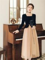 Dress Autumn 2020 Picture color S,M,L,XL longuette singleton  Long sleeves square neck High waist zipper Big swing routine Type A Splicing