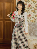 Dress Spring 2021 Picture color S,M,L singleton  Long sleeves stand collar High waist lattice zipper A-line skirt routine Type A