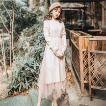 Dress Autumn of 2019 S,M,L longuette singleton  Long sleeves commute Crew neck Loose waist Socket A-line skirt routine Others 18-24 years old Type A Other / other Retro Lace up