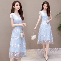Women's large Summer 2021 Light blue pink L XL XXL XXXL 4XL Dress singleton  commute Self cultivation Socket Short sleeve Decor Korean version Crew neck Medium length polyester Huangge 35-39 years old Gauze Other polyester 95% 5% Pure e-commerce (online only) Hollowing out