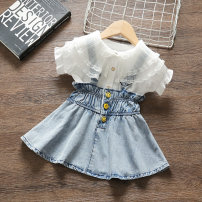 Dress Blue summer smile button denim skirt cover female Yibailido Polyester 100% summer Korean version Strapless skirt Solid color Cotton blended fabric Princess Dress HMGR63151 Summer 2021 12 months, 9 months, 18 months, 2 years, 3 years, 4 years