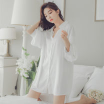 Nightdress Beautiful yet white M, L sexy three quarter sleeve pajamas Short skirt summer Solid color youth Small lapel Iced silk More than 95% other C085