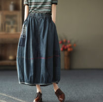 skirt Spring 2021 Average size blue longuette commute Natural waist A-line skirt Solid color Type A 25-29 years old More than 95% Denim cotton pocket Retro