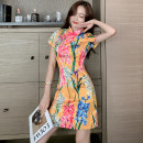 cheongsam Summer 2020 Short sleeve Retro No slits daily Oblique lapel Design and color 25-35 years old Piping 31% (inclusive) - 50% (inclusive) Short cheongsam S,M,L,XL yellow