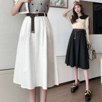 skirt Spring 2021 S,M,L,XL Black, white, green, light blue, khaki, reddish brown longuette commute High waist A-line skirt Solid color Type A 25-29 years old DF 71% (inclusive) - 80% (inclusive) brocade polyester fiber pocket Korean version