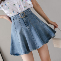 skirt Spring 2021 S,M,L,XL,2XL blue Short skirt commute High waist Umbrella skirt Solid color Type A 25-29 years old DF 51% (inclusive) - 70% (inclusive) Korean version
