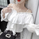 Lace / Chiffon Spring 2021 white S,M,L,XL Long sleeves commute Socket singleton  easy Regular One word collar Solid color other 18-24 years old DF Korean version 51% (inclusive) - 70% (inclusive) polyester fiber