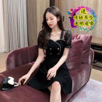Dress Summer 2021 White, black S,M,L,XL,2XL Short skirt singleton  Short sleeve commute Crew neck High waist Solid color zipper A-line skirt 18-24 years old Type A Korean version Splicing