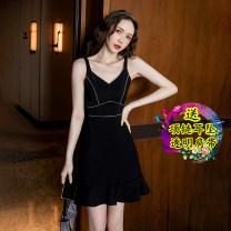 Dress Summer 2021 black S,M,L,XL Short skirt singleton  Short sleeve commute V-neck High waist Solid color Ruffle Skirt camisole 18-24 years old Type A Retro Splicing