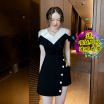 Dress Winter 2021 Black original two piece set S,M,L,XL,2XL Short skirt Two piece set Short sleeve commute Irregular skirt 18-24 years old Korean version