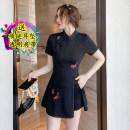 Dress Winter 2016 Black original, skirt + shorts S,M,L,XL,2XL Short skirt Two piece set Short sleeve commute High waist 18-24 years old Korean version