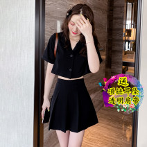Dress Summer 2021 Black two piece set S,M,L,XL,2XL Short skirt Two piece set Short sleeve commute V-neck Solid color 18-24 years old Korean version