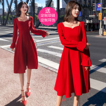 Dress Autumn 2021 Black, red, black no small gift discount, red no small gift discount S,M,L,XL,2XL Mid length dress singleton  Long sleeves commute Others 18-24 years old Type A Korean version
