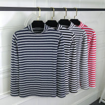 T-shirt Dark Grey Stripe, fine black stripe, dark blue stripe, fine red stripe M. L, XL, 2XL, pay attention to the store and give small gifts Spring of 2019 Long sleeves Half high collar Self cultivation Regular routine commute cotton 96% and above 25-29 years old Korean version classic Hani tide