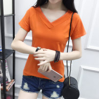 T-shirt White, gray, orange, black M. L, XL, 2XL, pay attention to the store and give small gifts Summer of 2019 Short sleeve V-neck Self cultivation Regular routine commute cotton 86% (inclusive) -95% (inclusive) 25-29 years old Korean version youth Solid color Hani tide 8627 solid