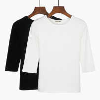 T-shirt Gray, white, black, peach, orange, pink, 865 # black, 865 # white, 865 # gray, 865 # orange M. L, XL, 2XL, a small gift for collection Autumn of 2018 three quarter sleeve Crew neck Straight cylinder Regular routine commute cotton 86% (inclusive) -95% (inclusive) 25-29 years old Simplicity