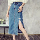 skirt Summer 2021 S,M,L Denim blue Mid length dress commute High waist other Solid color Type H 30-34 years old 71% (inclusive) - 80% (inclusive) Denim other Korean version