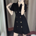 Dress Summer 2021 Black, red S,M,L,XL Mid length dress singleton  Long sleeves commute tailored collar High waist Solid color double-breasted A-line skirt routine Type A Korean version More than 95% cotton