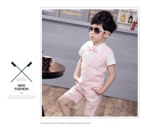 Suit / Blazer Blue Vest + pants + shirt for bow tie, grey Vest + pants + shirt for bow tie, pink vest + pants + shirt for bow tie 90cm,100cm,110cm,120cm,130cm,140cm Other / other male There are models in the real shooting Korean version Solid color Single breasted routine cotton