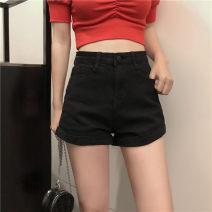 Jeans Summer 2020 white S [90-100kg], m [100-110kg], l [110-120kg], XL [120-135kg], 2XL [135-150kg], 3XL [150-165kg], 4XL [165-175kg], 5XL [175-200kg] shorts High waist Wide legged trousers routine 18-24 years old Cotton denim Dark color JSWETR 51% (inclusive) - 70% (inclusive)