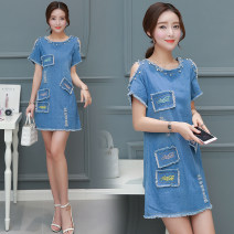 Dress Summer 2020 blue S,M,L,XL,2XL,3XL,4XL,5XL Middle-skirt singleton  Short sleeve Crew neck middle-waisted Socket routine Others 18-24 years old Type A 2012# Denim