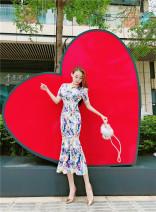 Dress Summer 2020 Decor S,M,L,XL Mid length dress singleton  Short sleeve commute Broken flowers lady