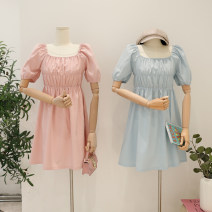 Dress Summer 2021 White, blue, pink Average size Short skirt singleton  Short sleeve commute square neck High waist Solid color Socket A-line skirt routine 18-24 years old Type H Korean version Button, print, lace up 81% (inclusive) - 90% (inclusive) other polyester fiber