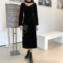 Dress Winter 2020 black S [90-100 kg], m [100-110 kg], l [110-120 kg], XL [120-135 kg], 2XL [135-150 Jin], 3XL [150-165 kg], 4XL [165-175 Jin], 5XL [175-200 Jin] Mid length dress singleton  Long sleeves commute V-neck High waist Solid color Socket other routine Others 18-24 years old Type H