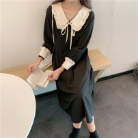 Dress Autumn 2020 black S [90-100kg], m [100-110kg], l [110-120kg], XL [120-135kg], 2XL [135-150kg], 3XL [150-165kg], 4XL [165-175kg], 5XL [175-200kg] longuette singleton  Long sleeves commute V-neck High waist Solid color Socket A-line skirt routine 18-24 years old Type A Korean version