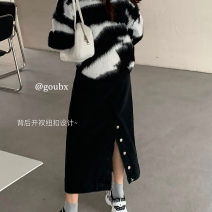 skirt Winter 2020 S [90-100 kg], m [100-110 kg], l [110-120 kg], XL [120-135 kg], 2XL [135-150 Jin], 3XL [150-165 kg], 4XL [165-175 Jin], 5XL [175-200 Jin] Dark blue, black Mid length dress commute High waist skirt Solid color Type A 18-24 years old other Coardiarn / Kuandian other Button