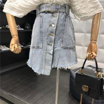 skirt Spring of 2019 S [90-100kg], m [100-110kg], l [110-120kg], XL [120-135kg], 2XL [135-150kg], 3XL [150-165kg], 4XL [165-175kg], 5XL [175-200kg] wathet Short skirt commute High waist A-line skirt Type A 18-24 years old Coardiarn / Kuandian Korean version