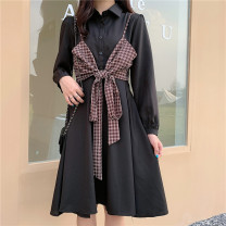 Dress Autumn 2020 black S [90-100 kg], m [100-110 kg], l [110-120 kg], XL [120-135 kg], 2XL [135-150 Jin], 3XL [150-165 kg], 4XL [165-175 Jin], 5XL [175-200 Jin] Mid length dress Two piece set Long sleeves commute square neck High waist Single breasted Big swing routine 18-24 years old Type A