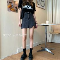 skirt Summer 2021 S [90-100 kg], m [100-110 kg], l [110-120 kg], XL [120-135 kg], 2XL [135-150 Jin], 3XL [150-165 kg], 4XL [165-175 Jin], 5XL [175-200 Jin] Light blue, black gray Short skirt commute High waist A-line skirt Solid color Type A 18-24 years old 30% and below Coardiarn / Kuandian Button